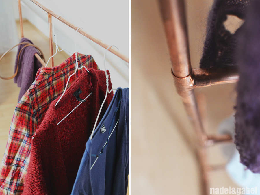 Copper Diy Clothes Rack From Copper Pipes Nadel Gabel