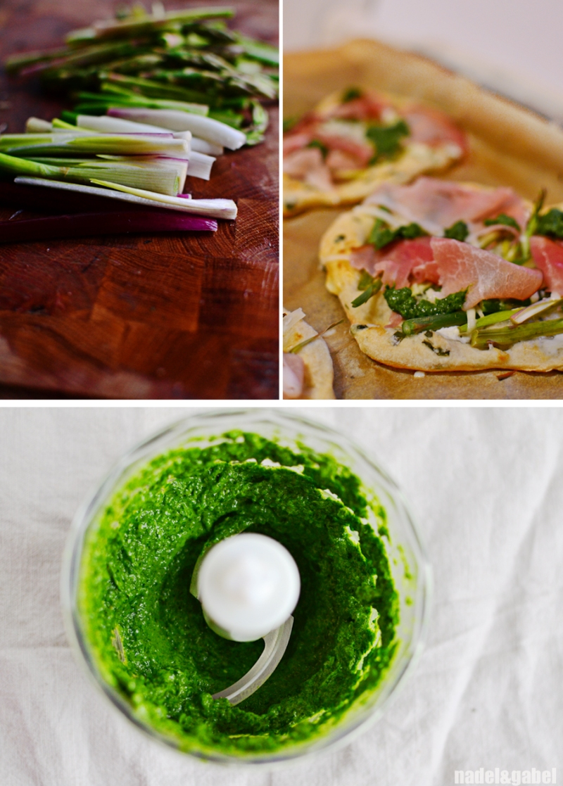 Pizza with asparagus, wild garlic and smoked ham