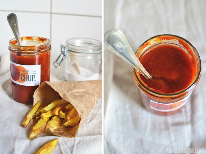 homemade tomato apricot ketchup and fries
