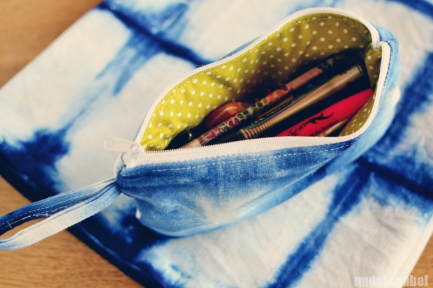 indigo shibori pencil case
