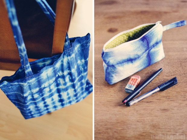 indigo shibori tote and pencil case