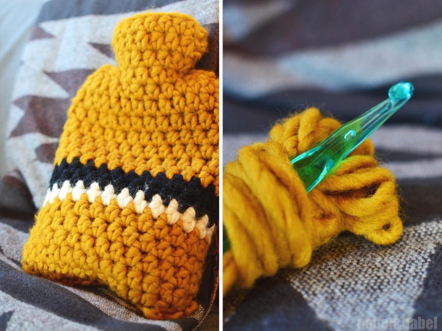 Hidden colour schemes – Crocheted hot water bottle cover   nadel&gabel