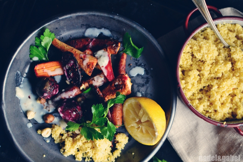 oven roasted root vegetable with millet 1