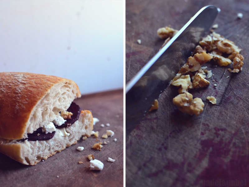 sandwich with beet root, feta and walnuts 6