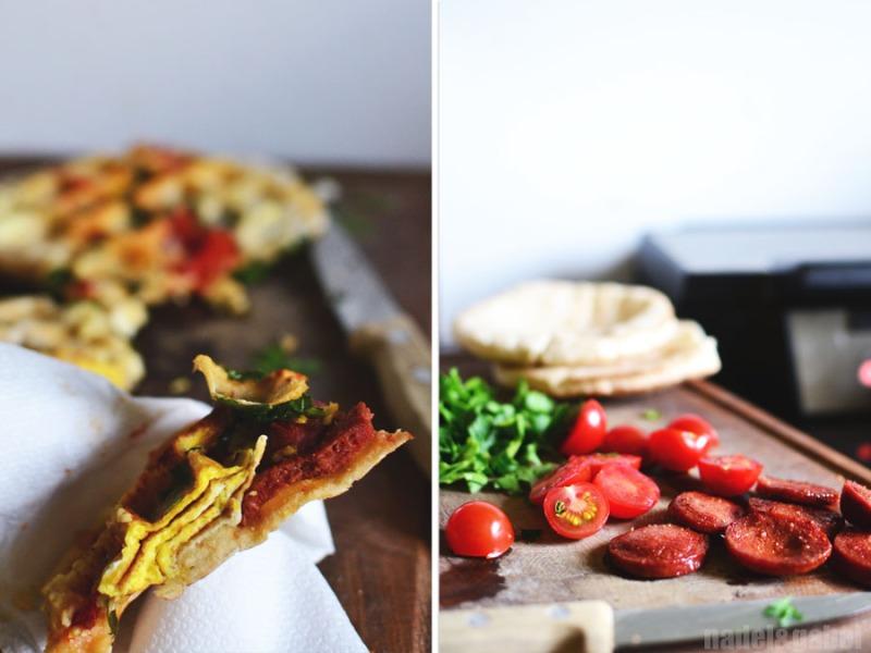 waffled pita sandwich with sucuk 2