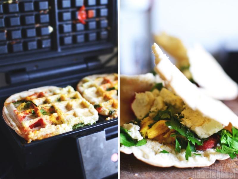 waffled pita sandwich with sucuk 3