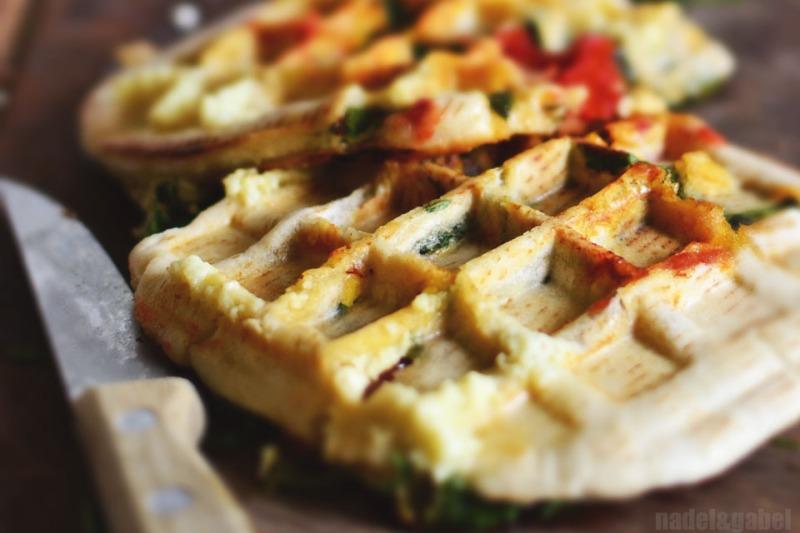 waffled pita sandwich with sucuk 4