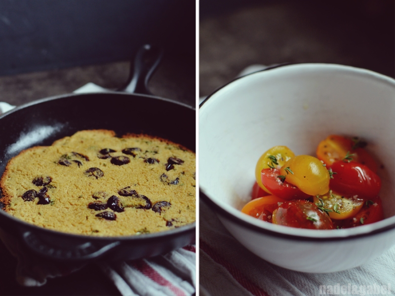 chickpea socca with tomatoes