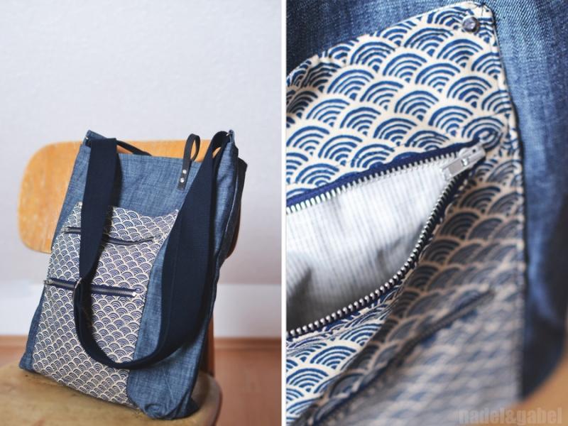 tote japanese seigaiha pattern