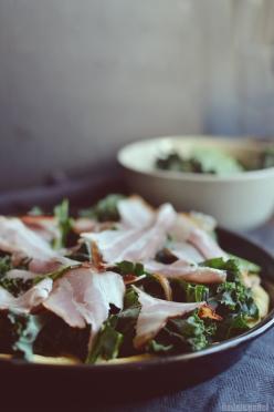 pizza with kale, bacon and gorgozola 1