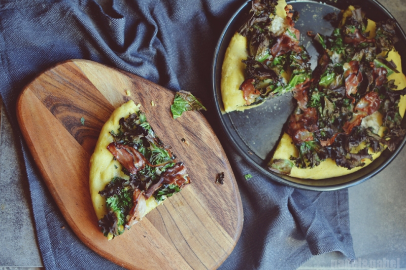 pizza with kale, bacon and gorgozola 2