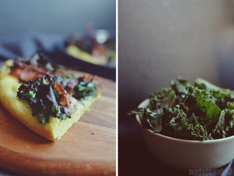 pizza with kale, gorgonzola and bacon 2