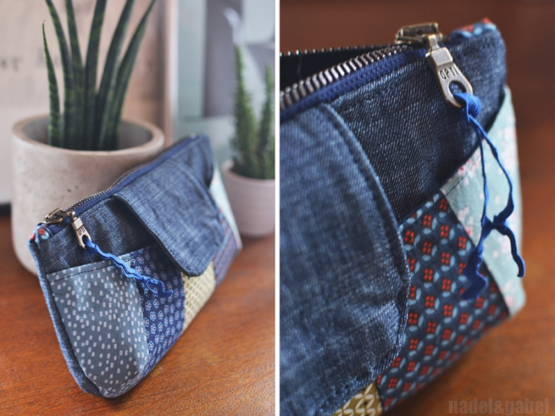 rainbow clutch denim