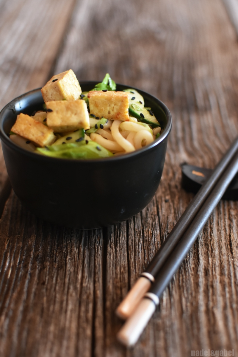 japanese udon salad with coriander and cucumber