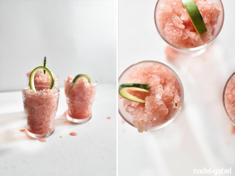 watermelon granita with cucumber