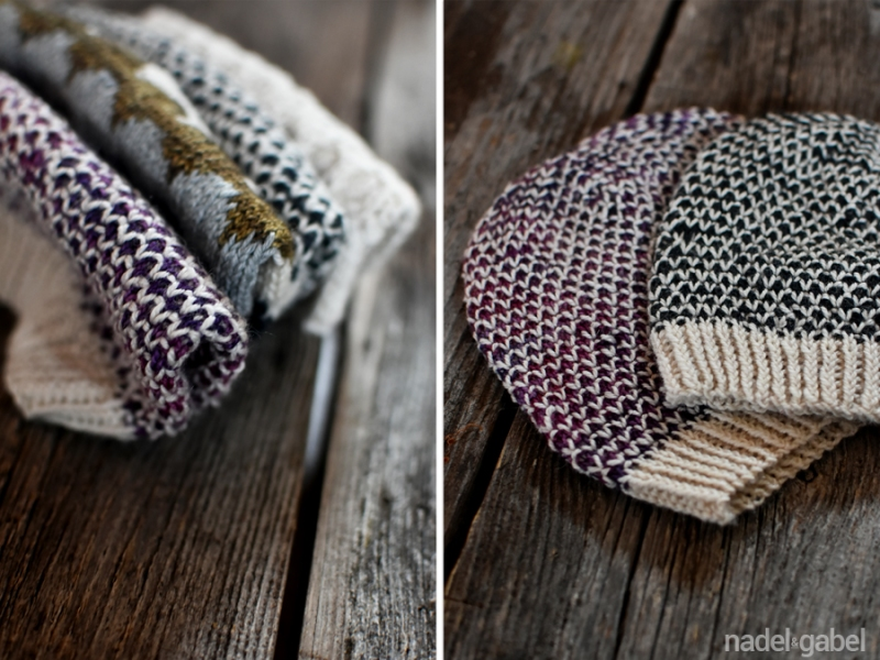 knitted beanies broken seed stich