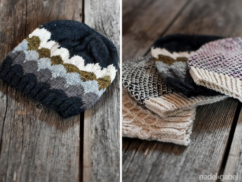 knitted kids beanie scallop pattern